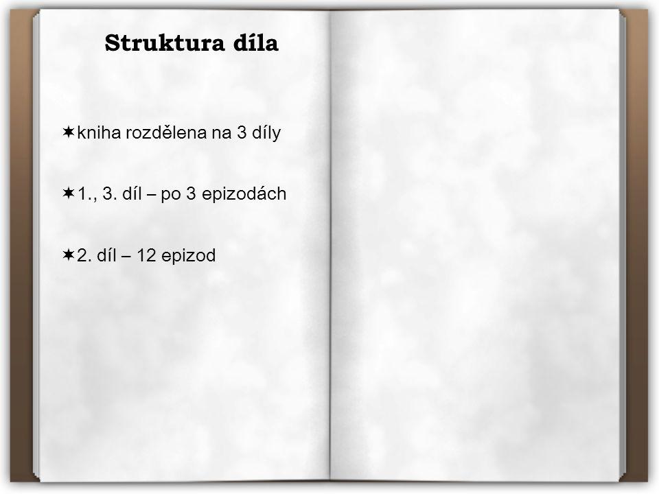Struktura díla  kniha rozdělena na 3 díly  1., 3. díl – po 3 epizodách  2. díl – 12 epizod