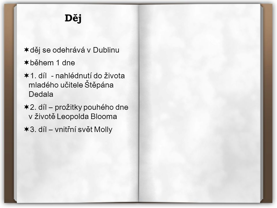 Děj  děj se odehrává v Dublinu  během 1 dne  1. díl - nahlédnutí do života mladého učitele Štěpána Dedala  2. díl – prožitky pouhého dne v životě