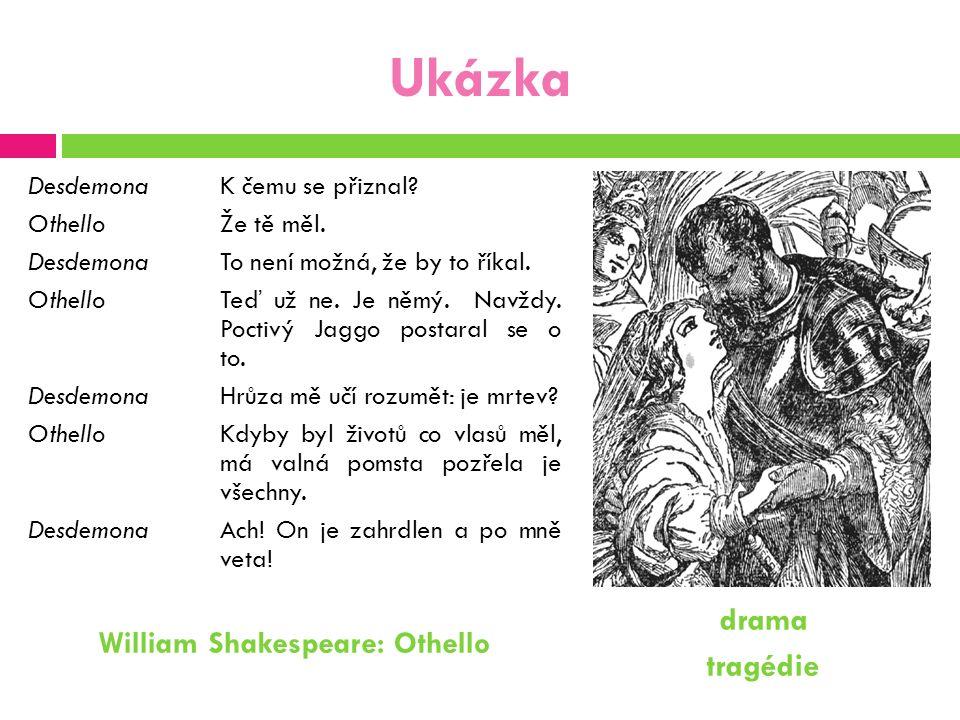 Ukázka DesdemonaK čemu se přiznal? OthelloŽe tě měl. DesdemonaTo není možná, že by to říkal. OthelloTeď už ne. Je němý. Navždy. Poctivý Jaggo postaral