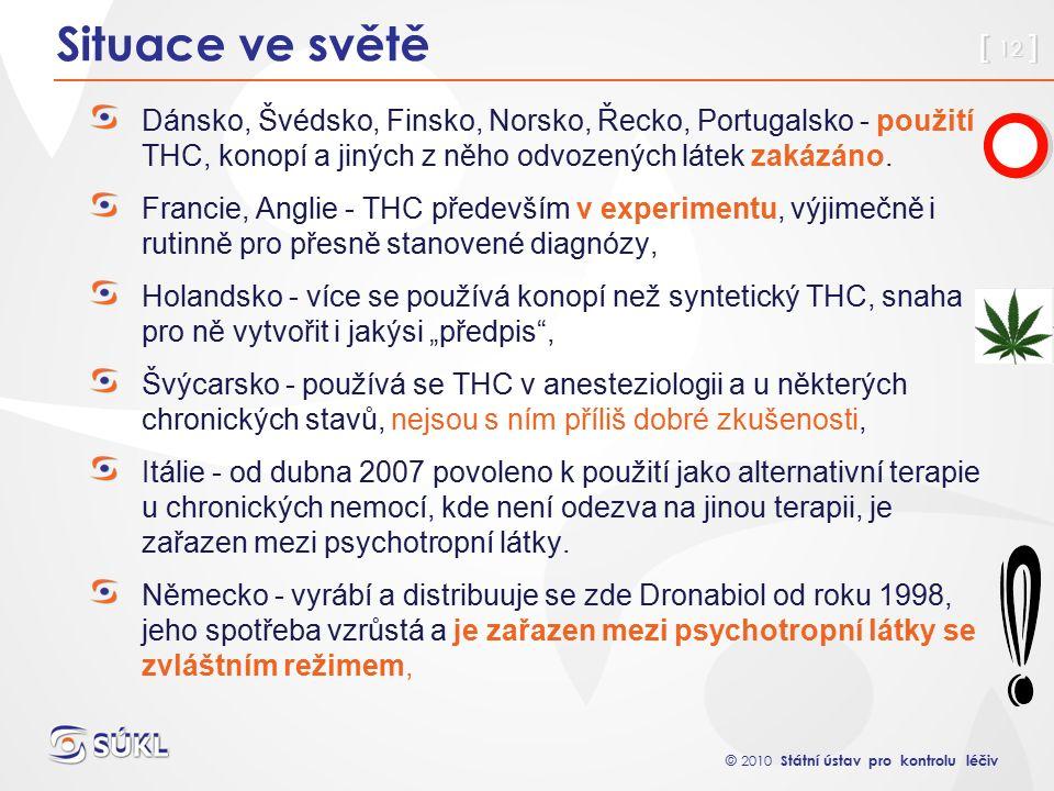 © 2010 Státní ústav pro kontrolu léčiv [ 12 ] Situace ve světě Dánsko, Švédsko, Finsko, Norsko, Řecko, Portugalsko - použití THC, konopí a jiných z něho odvozených látek zakázáno.