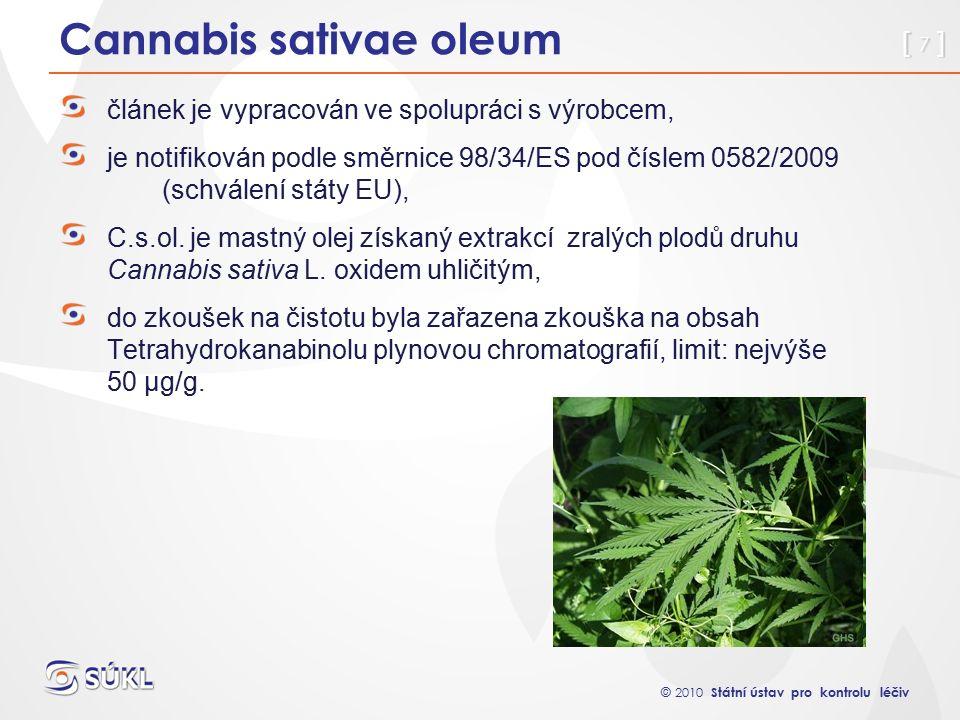 © 2010 Státní ústav pro kontrolu léčiv [ 7 ] Cannabis sativae oleum článek je vypracován ve spolupráci s výrobcem, je notifikován podle směrnice 98/34/ES pod číslem 0582/2009 (schválení státy EU), C.s.ol.