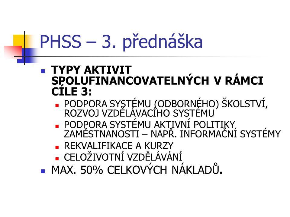 PHSS – 3. přednáška TYPY AKTIVIT SPOLUFINANCOVATELNÝCH V RÁMCI CÍLE 3: PODPORA SYSTÉMU (ODBORNÉHO) ŠKOLSTVÍ, ROZVOJ VZDĚLÁVACÍHO SYSTÉMU PODPORA SYSTÉ