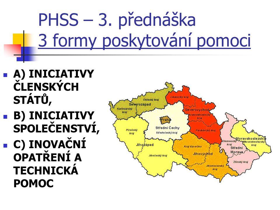 PHSS – 3. přednáška 3 formy poskytování pomoci A) INICIATIVY ČLENSKÝCH STÁTŮ, B) INICIATIVY SPOLEČENSTVÍ, C) INOVAČNÍ OPATŘENÍ A TECHNICKÁ POMOC