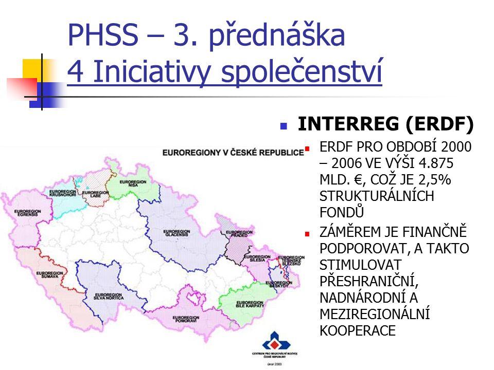 PHSS – 3. přednáška 4 Iniciativy společenství INTERREG (ERDF) ERDF PRO OBDOBÍ 2000 – 2006 VE VÝŠI 4.875 MLD. €, COŽ JE 2,5% STRUKTURÁLNÍCH FONDŮ ZÁMĚR