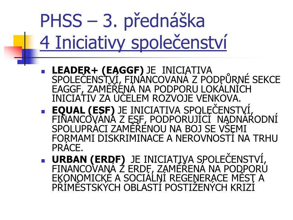 PHSS – 3. přednáška 4 Iniciativy společenství LEADER+ (EAGGF) JE INICIATIVA SPOLEČENSTVÍ, FINANCOVANÁ Z PODPŮRNÉ SEKCE EAGGF, ZAMĚŘENÁ NA PODPORU LOKÁ