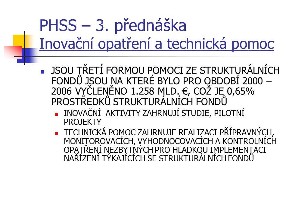 PHSS – 3. přednáška Inovační opatření a technická pomoc JSOU TŘETÍ FORMOU POMOCI ZE STRUKTURÁLNÍCH FONDŮ JSOU NA KTERÉ BYLO PRO OBDOBÍ 2000 – 2006 VYČ