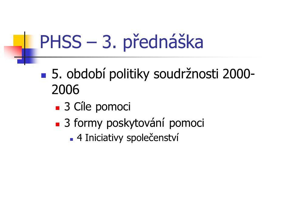 PHSS – 3. přednáška 5. období politiky soudržnosti 2000- 2006 3 Cíle pomoci 3 formy poskytování pomoci 4 Iniciativy společenství