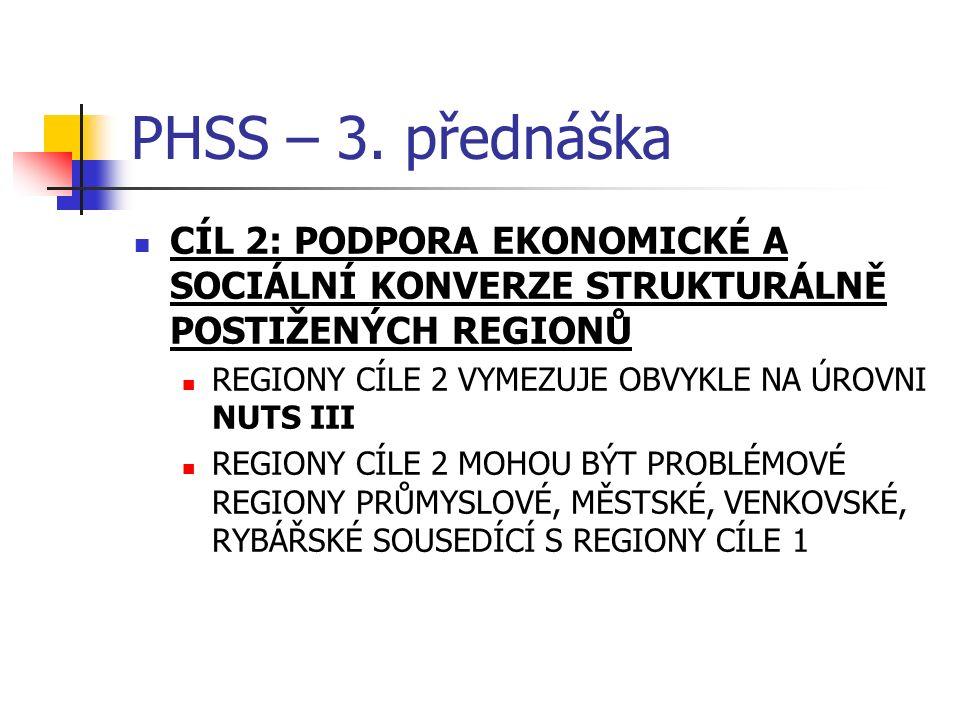 PHSS – 3. přednáška CÍL 2: PODPORA EKONOMICKÉ A SOCIÁLNÍ KONVERZE STRUKTURÁLNĚ POSTIŽENÝCH REGIONŮ REGIONY CÍLE 2 VYMEZUJE OBVYKLE NA ÚROVNI NUTS III