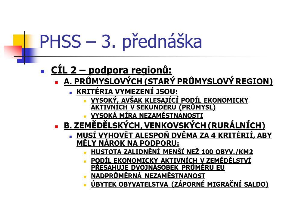 PHSS – 3. přednáška CÍL 2 – podpora regionů: A. PRŮMYSLOVÝCH (STARÝ PRŮMYSLOVÝ REGION) KRITÉRIA VYMEZENÍ JSOU: VYSOKÝ, AVŠAK KLESAJÍCÍ PODÍL EKONOMICK