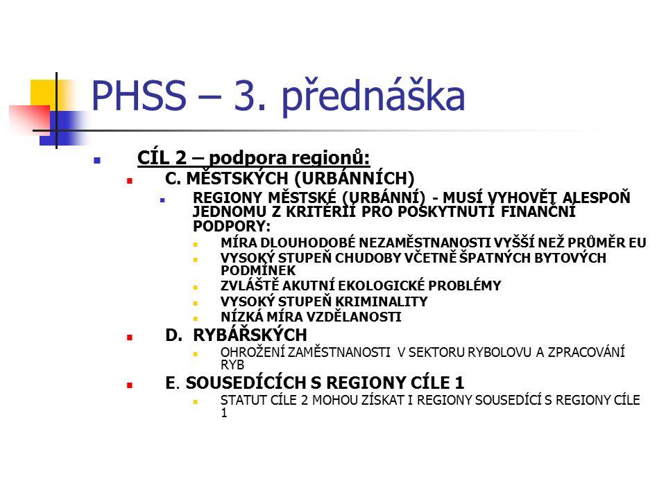 PHSS – 3. přednáška CÍL 2 – podpora regionů: C. MĚSTSKÝCH (URBÁNNÍCH) REGIONY MĚSTSKÉ (URBÁNNÍ) - MUSÍ VYHOVĚT ALESPOŇ JEDNOMU Z KRITÉRIÍ PRO POSKYTNU