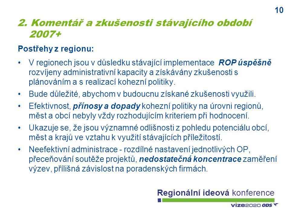 10 Regionální ideová konference V regionech jsou v důsledku stávající implementace ROP úspěšně rozvíjeny administrativní kapacity a získávány zkušenos