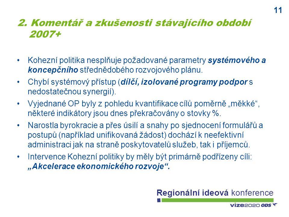 11 Regionální ideová konference Kohezní politika nesplňuje požadované parametry systémového a koncepčního střednědobého rozvojového plánu. Chybí systé