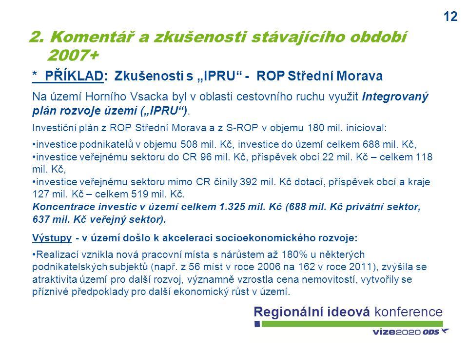 """12 Regionální ideová konference * PŘÍKLAD: Zkušenosti s """"IPRU - ROP Střední Morava Na území Horního Vsacka byl v oblasti cestovního ruchu využit Integrovaný plán rozvoje území (""""IPRU )."""