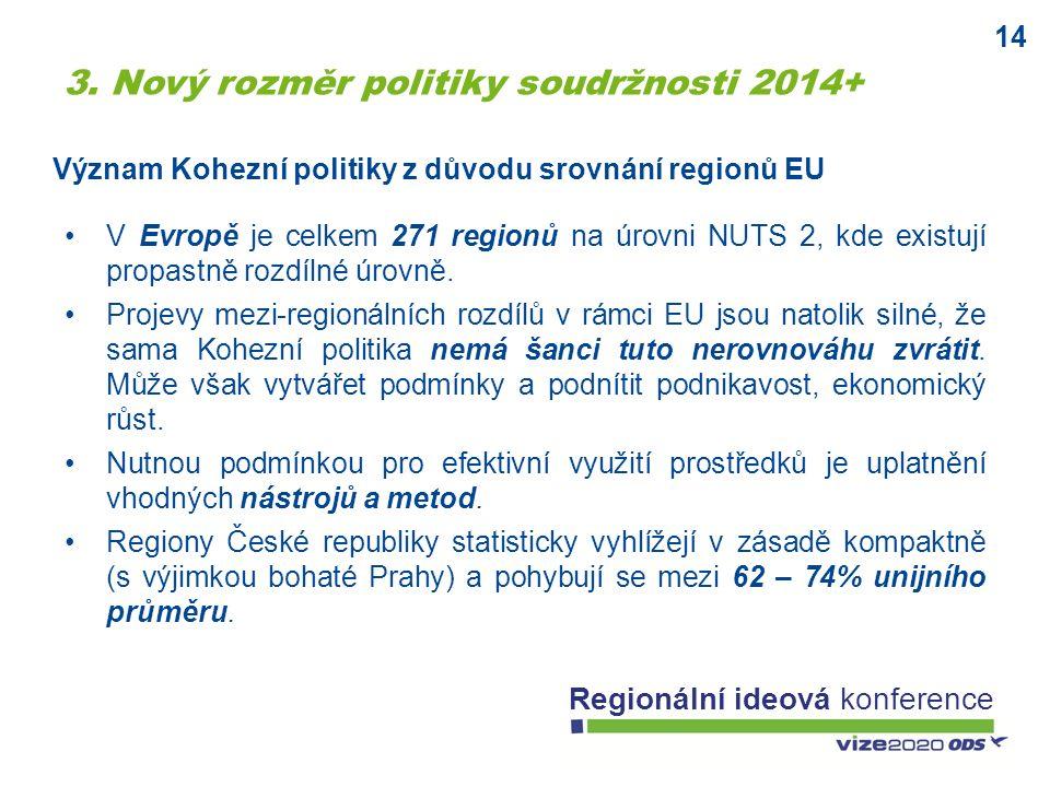 14 Regionální ideová konference Význam Kohezní politiky z důvodu srovnání regionů EU V Evropě je celkem 271 regionů na úrovni NUTS 2, kde existují pro