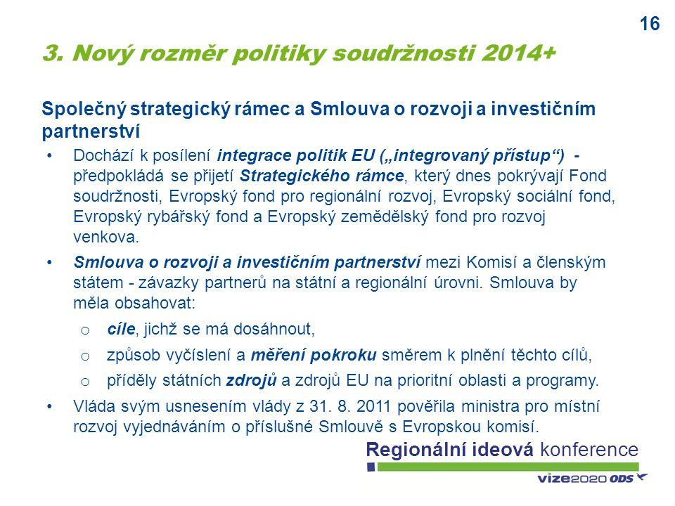 """16 Regionální ideová konference Společný strategický rámec a Smlouva o rozvoji a investičním partnerství Dochází k posílení integrace politik EU (""""int"""