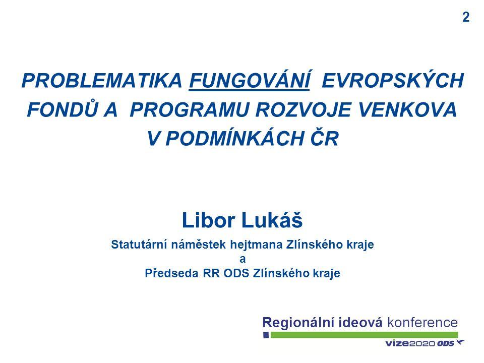 2 Regionální ideová konference Libor Lukáš Statutární náměstek hejtmana Zlínského kraje a Předseda RR ODS Zlínského kraje PROBLEMATIKA FUNGOVÁNÍ EVROP