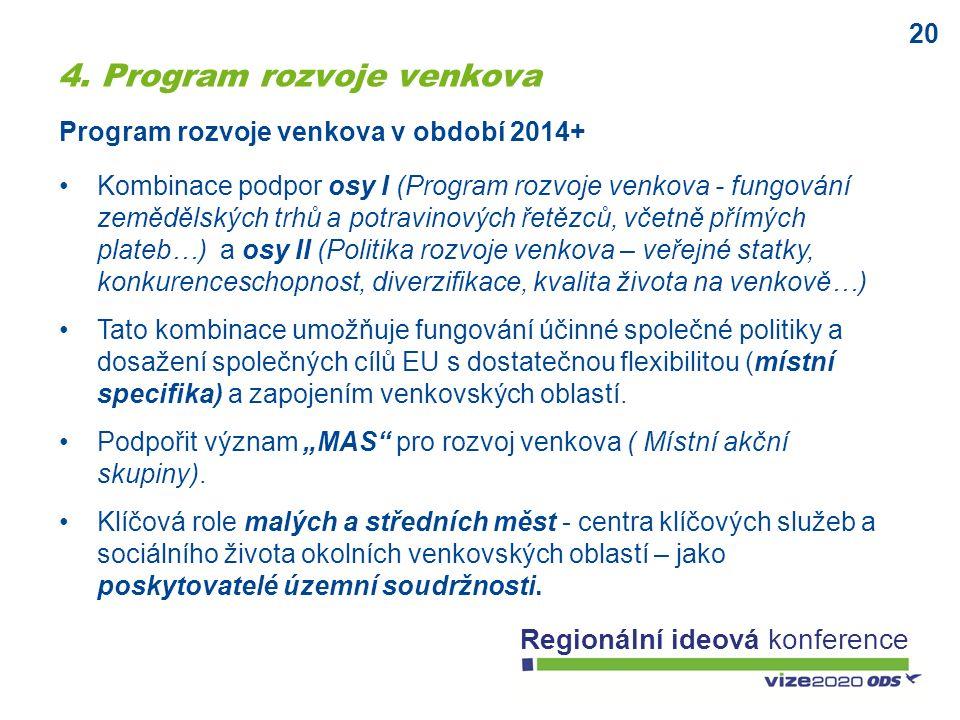 20 Regionální ideová konference Kombinace podpor osy I (Program rozvoje venkova - fungování zemědělských trhů a potravinových řetězců, včetně přímých