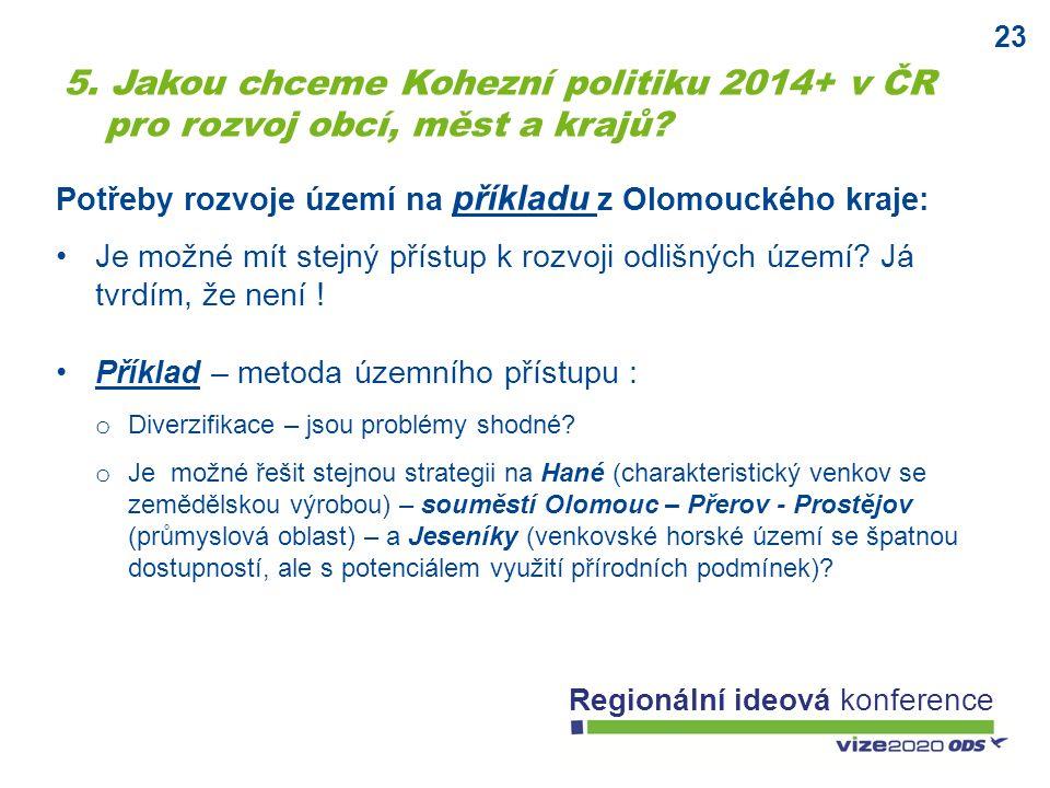 23 Regionální ideová konference Potřeby rozvoje území na příkladu z Olomouckého kraje: Je možné mít stejný přístup k rozvoji odlišných území? Já tvrdí