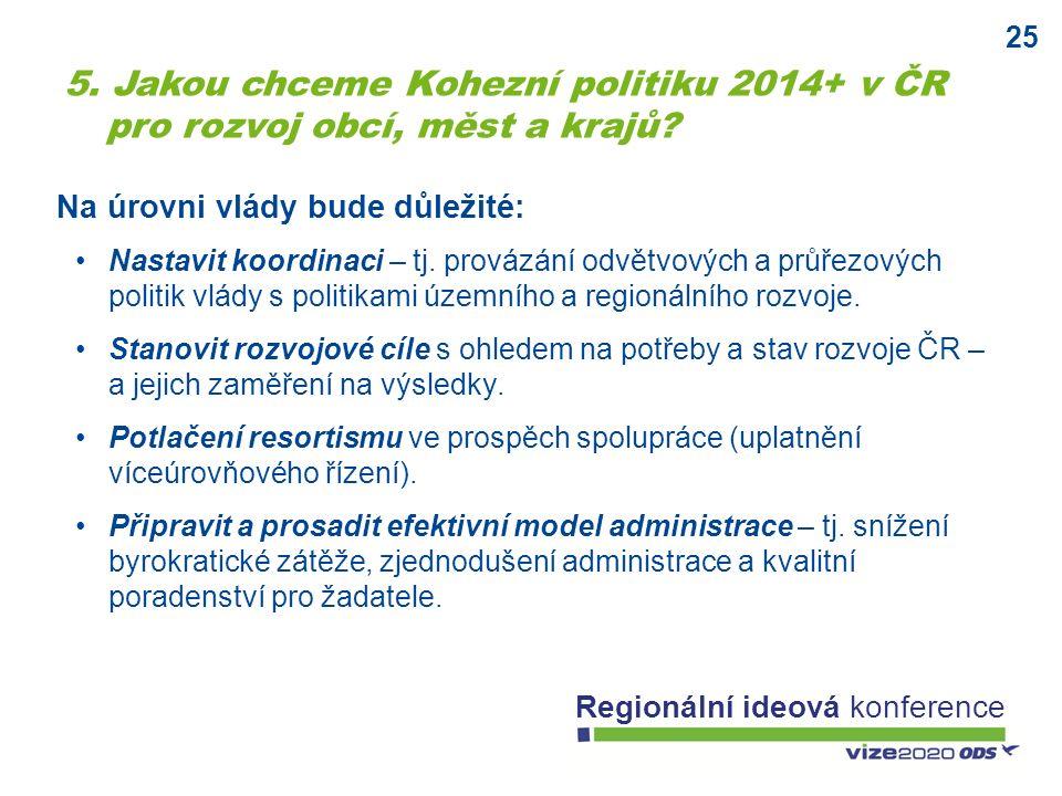 25 Regionální ideová konference Na úrovni vlády bude důležité: Nastavit koordinaci – tj. provázání odvětvových a průřezových politik vlády s politikam
