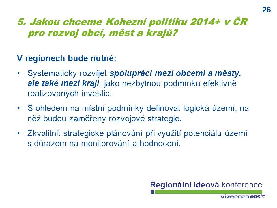 26 Regionální ideová konference V regionech bude nutné: Systematicky rozvíjet spolupráci mezi obcemi a městy, ale také mezi kraji, jako nezbytnou podmínku efektivně realizovaných investic.