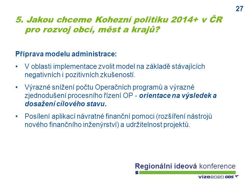 27 Regionální ideová konference Příprava modelu administrace: V oblasti implementace zvolit model na základě stávajících negativních i pozitivních zkušeností.