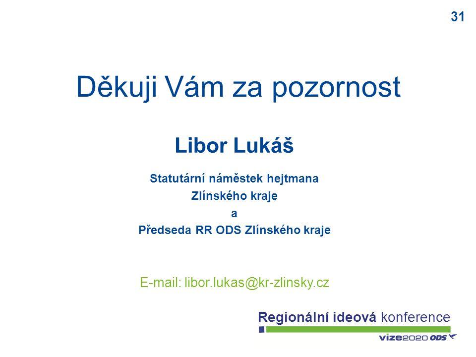 31 Regionální ideová konference Děkuji Vám za pozornost Libor Lukáš Statutární náměstek hejtmana Zlínského kraje a Předseda RR ODS Zlínského kraje E-m