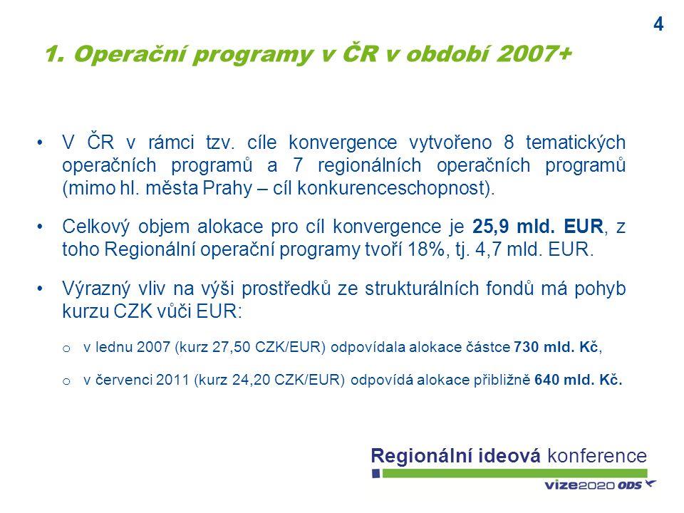4 Regionální ideová konference V ČR v rámci tzv. cíle konvergence vytvořeno 8 tematických operačních programů a 7 regionálních operačních programů (mi