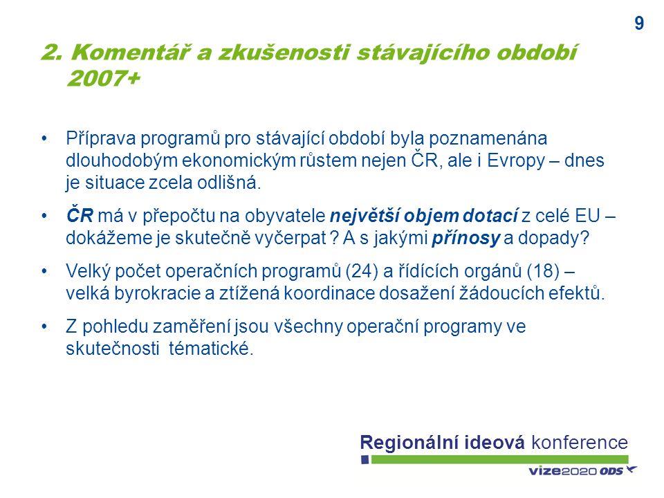 9 Regionální ideová konference Příprava programů pro stávající období byla poznamenána dlouhodobým ekonomickým růstem nejen ČR, ale i Evropy – dnes je situace zcela odlišná.