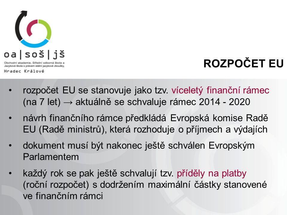 ROZPOČET EU rozpočet EU se stanovuje jako tzv. víceletý finanční rámec (na 7 let) → aktuálně se schvaluje rámec 2014 - 2020 návrh finančního rámce pře