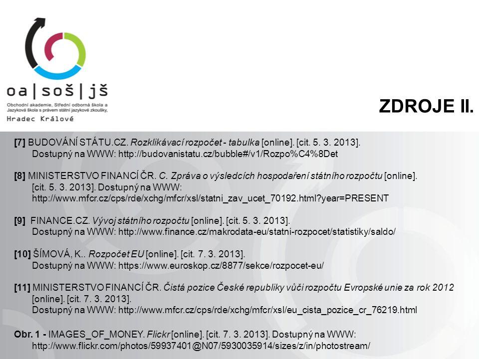 ZDROJE II. [7] BUDOVÁNÍ STÁTU.CZ. Rozklikávací rozpočet - tabulka [online]. [cit. 5. 3. 2013]. Dostupný na WWW: http://budovanistatu.cz/bubble#/v1/Roz