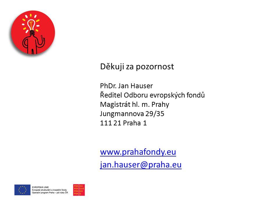 Děkuji za pozornost PhDr. Jan Hauser Ředitel Odboru evropských fondů Magistrát hl.