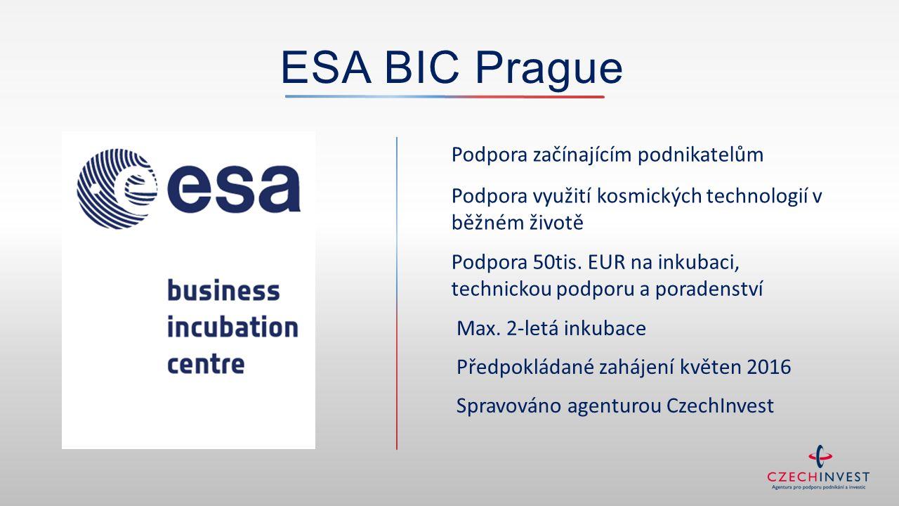 ESA BIC Prague Podpora začínajícím podnikatelům Podpora využití kosmických technologií v běžném životě Podpora 50tis. EUR na inkubaci, technickou podp