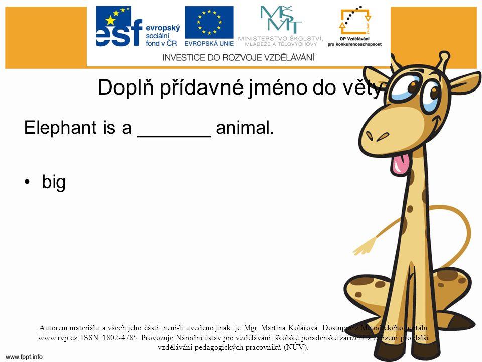 Doplň přídavné jméno do věty. Elephant is a _______ animal.