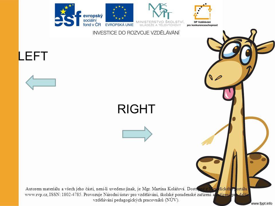 LEFT RIGHT Autorem materiálu a všech jeho částí, není-li uvedeno jinak, je Mgr.