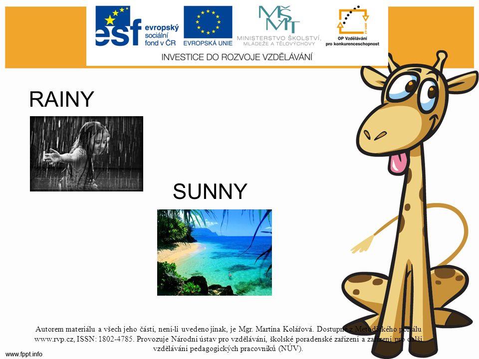RAINY SUNNY Autorem materiálu a všech jeho částí, není-li uvedeno jinak, je Mgr.