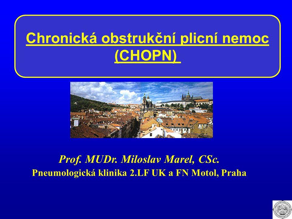 Chronická obstrukční plicní nemoc (CHOPN) Prof. MUDr. Miloslav Marel, CSc. Pneumologická klinika 2.LF UK a FN Motol, Praha