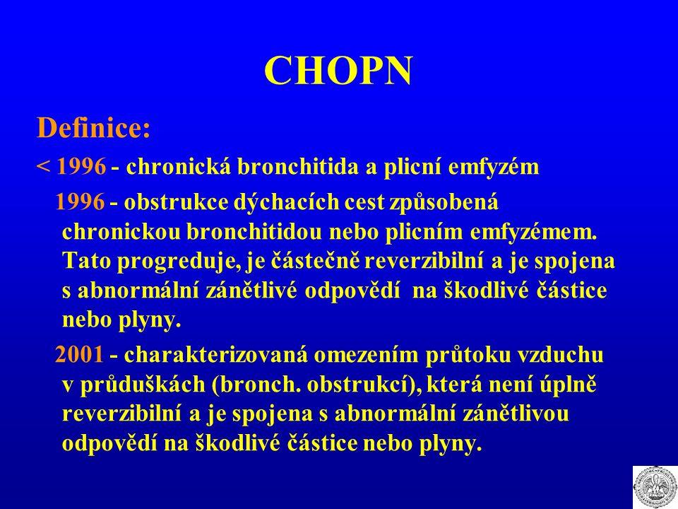 CHOPN Definice: < 1996 - chronická bronchitida a plicní emfyzém 1996 - obstrukce dýchacích cest způsobená chronickou bronchitidou nebo plicním emfyzém