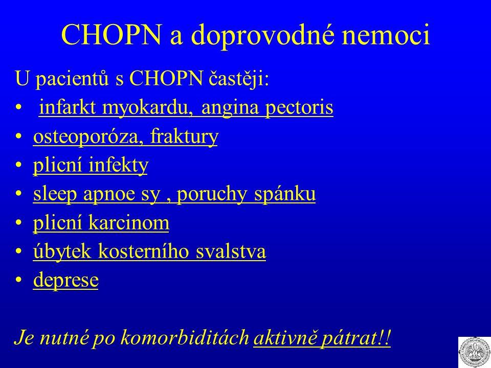 CHOPN a doprovodné nemoci U pacientů s CHOPN častěji: infarkt myokardu, angina pectoris osteoporóza, fraktury plicní infekty sleep apnoe sy, poruchy s
