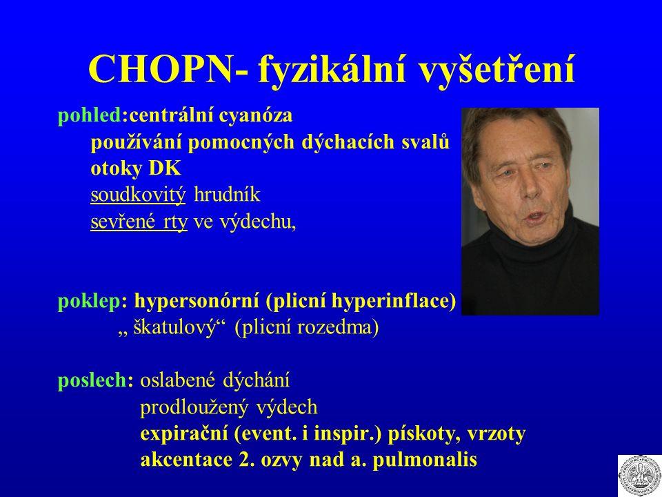 CHOPN- fyzikální vyšetření pohled:centrální cyanóza používání pomocných dýchacích svalů otoky DK soudkovitý hrudník sevřené rty ve výdechu, poklep: hy
