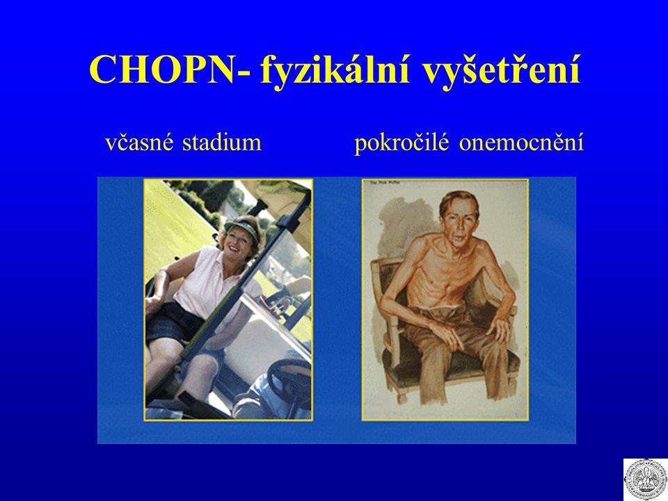 CHOPN- fyzikální vyšetření včasné stadium pokročilé onemocnění