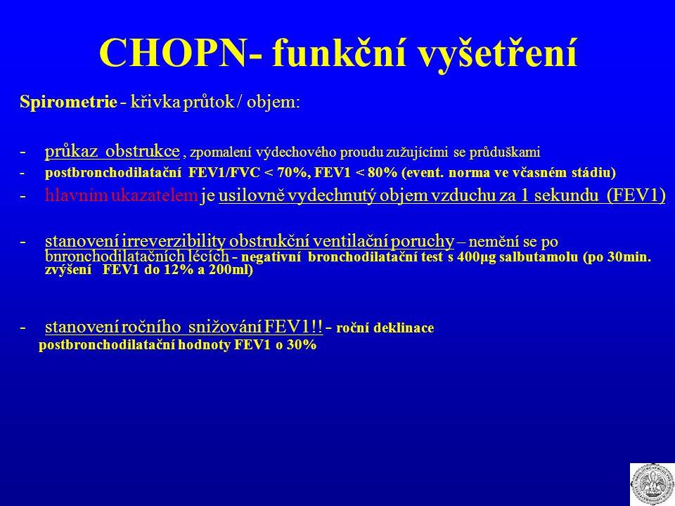 CHOPN- funkční vyšetření Spirometrie - křivka průtok / objem: -průkaz obstrukce, zpomalení výdechového proudu zužujícími se průduškami -postbronchodil
