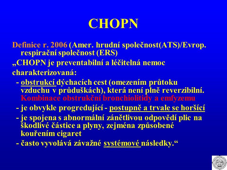 """CHOPN Definice r. 2006 (Amer. hrudní společnost(ATS)/Evrop. respirační společnost (ERS) """"CHOPN je preventabilní a léčitelná nemoc charakterizovaná: -"""