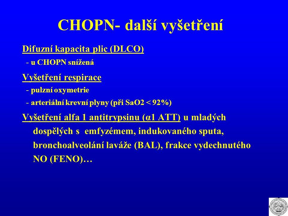 CHOPN- další vyšetření Difuzní kapacita plic (DLCO) - u CHOPN snížená Vyšetření respirace - pulzní oxymetrie - arteriální krevní plyny (při SaO2 < 92%