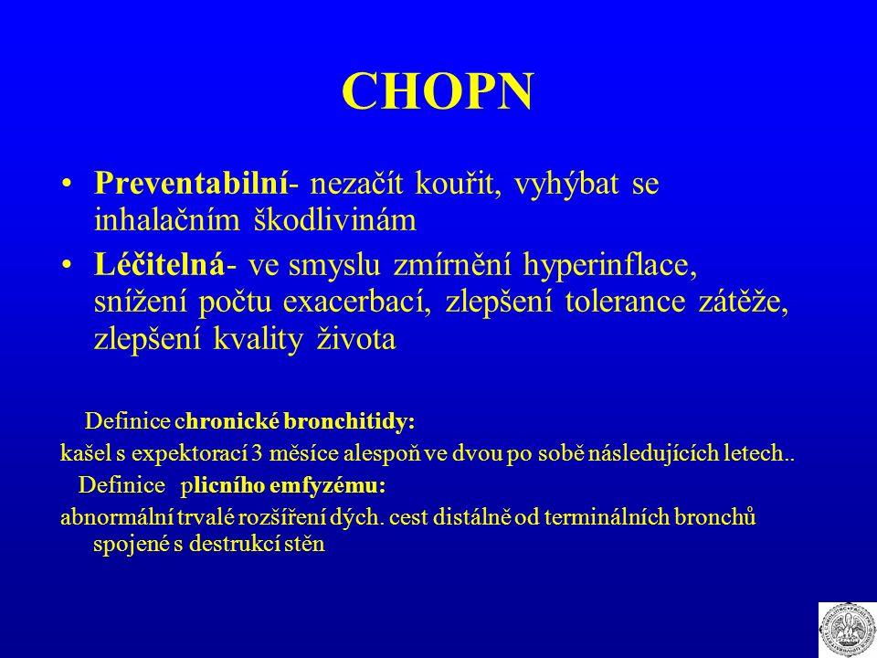 CHOPN Preventabilní- nezačít kouřit, vyhýbat se inhalačním škodlivinám Léčitelná- ve smyslu zmírnění hyperinflace, snížení počtu exacerbací, zlepšení