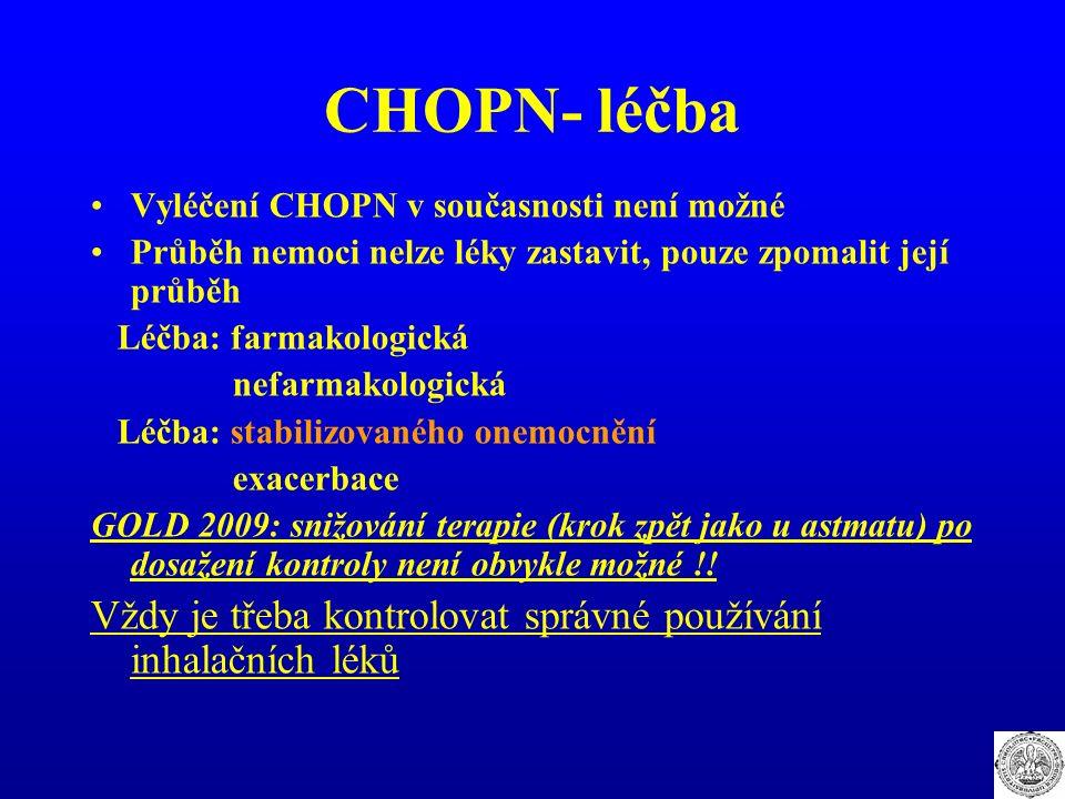 CHOPN- léčba Vyléčení CHOPN v současnosti není možné Průběh nemoci nelze léky zastavit, pouze zpomalit její průběh Léčba: farmakologická nefarmakologi