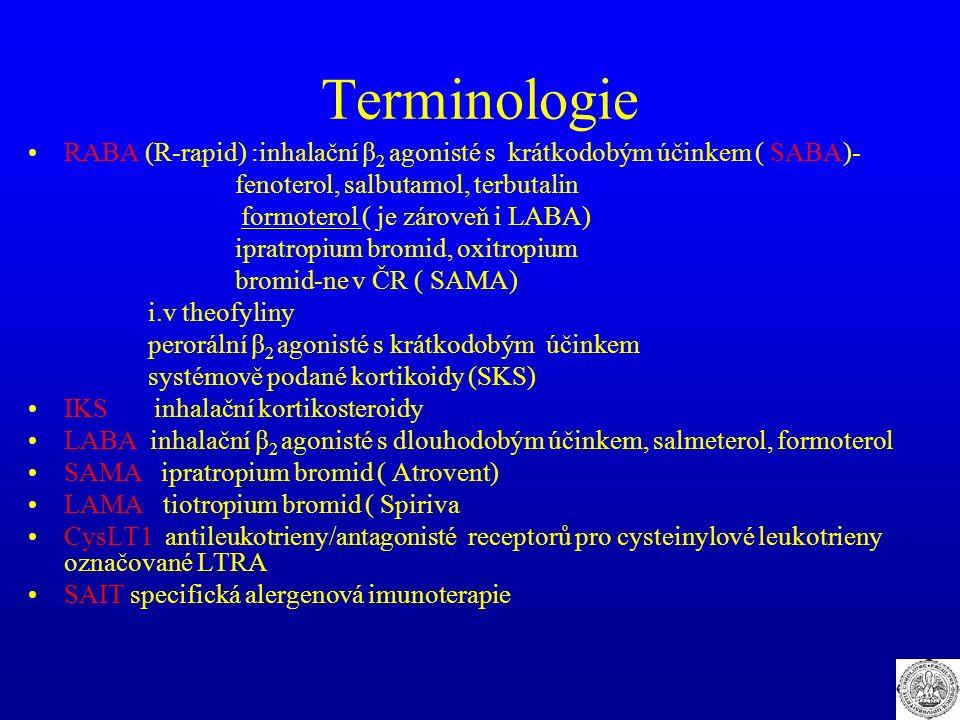 Terminologie RABA (R-rapid) :inhalační β 2 agonisté s krátkodobým účinkem ( SABA)- fenoterol, salbutamol, terbutalin formoterol ( je zároveň i LABA) ipratropium bromid, oxitropium bromid-ne v ČR ( SAMA) i.v theofyliny perorální β 2 agonisté s krátkodobým účinkem systémově podané kortikoidy (SKS) IKS inhalační kortikosteroidy LABA inhalační β 2 agonisté s dlouhodobým účinkem, salmeterol, formoterol SAMA ipratropium bromid ( Atrovent) LAMA tiotropium bromid ( Spiriva CysLT1 antileukotrieny/antagonisté receptorů pro cysteinylové leukotrieny označované LTRA SAIT specifická alergenová imunoterapie