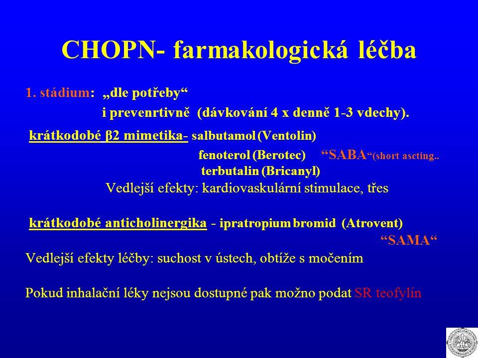 """CHOPN- farmakologická léčba 1. stádium: """"dle potřeby"""" i prevenrtivně (dávkování 4 x denně 1-3 vdechy). krátkodobé β2 mimetika- salbutamol (Ventolin) f"""