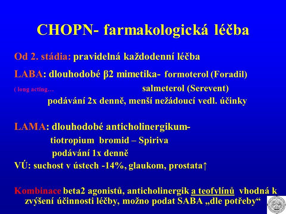 CHOPN- farmakologická léčba Od 2. stádia: pravidelná každodenní léčba LABA: dlouhodobé β2 mimetika- formoterol (Foradil) ( long acting… salmeterol (Se