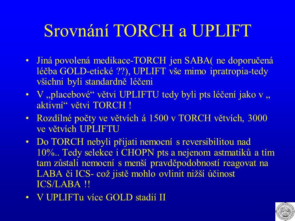 Srovnání TORCH a UPLIFT Jiná povolená medikace-TORCH jen SABA( ne doporučená léčba GOLD-etické ??), UPLIFT vše mimo ipratropia-tedy všichni byli stand