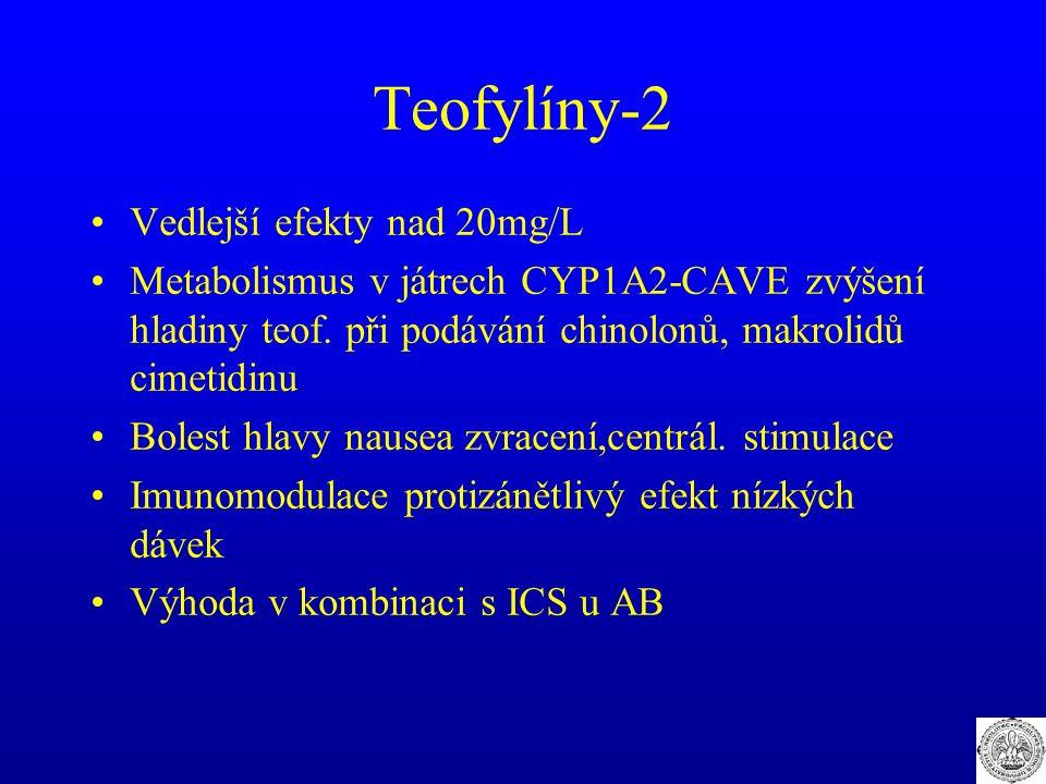Teofylíny-2 Vedlejší efekty nad 20mg/L Metabolismus v játrech CYP1A2-CAVE zvýšení hladiny teof. při podávání chinolonů, makrolidů cimetidinu Bolest hl
